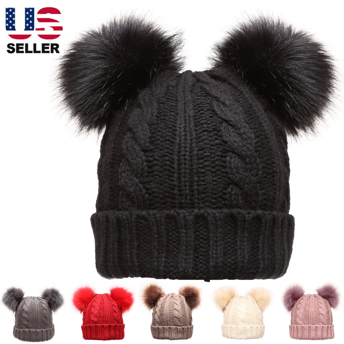 Black knit double fur pom poms beanie