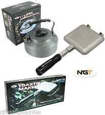 NGT Bankside Sandwich Toaster Camping Toastie Maker + Carp Fishing Kettle 1.1L
