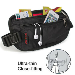 Money-Belt-travel-bag-secure-waist-zip-Pouch-RFID-Blocking-Card-Passport-Sleeves