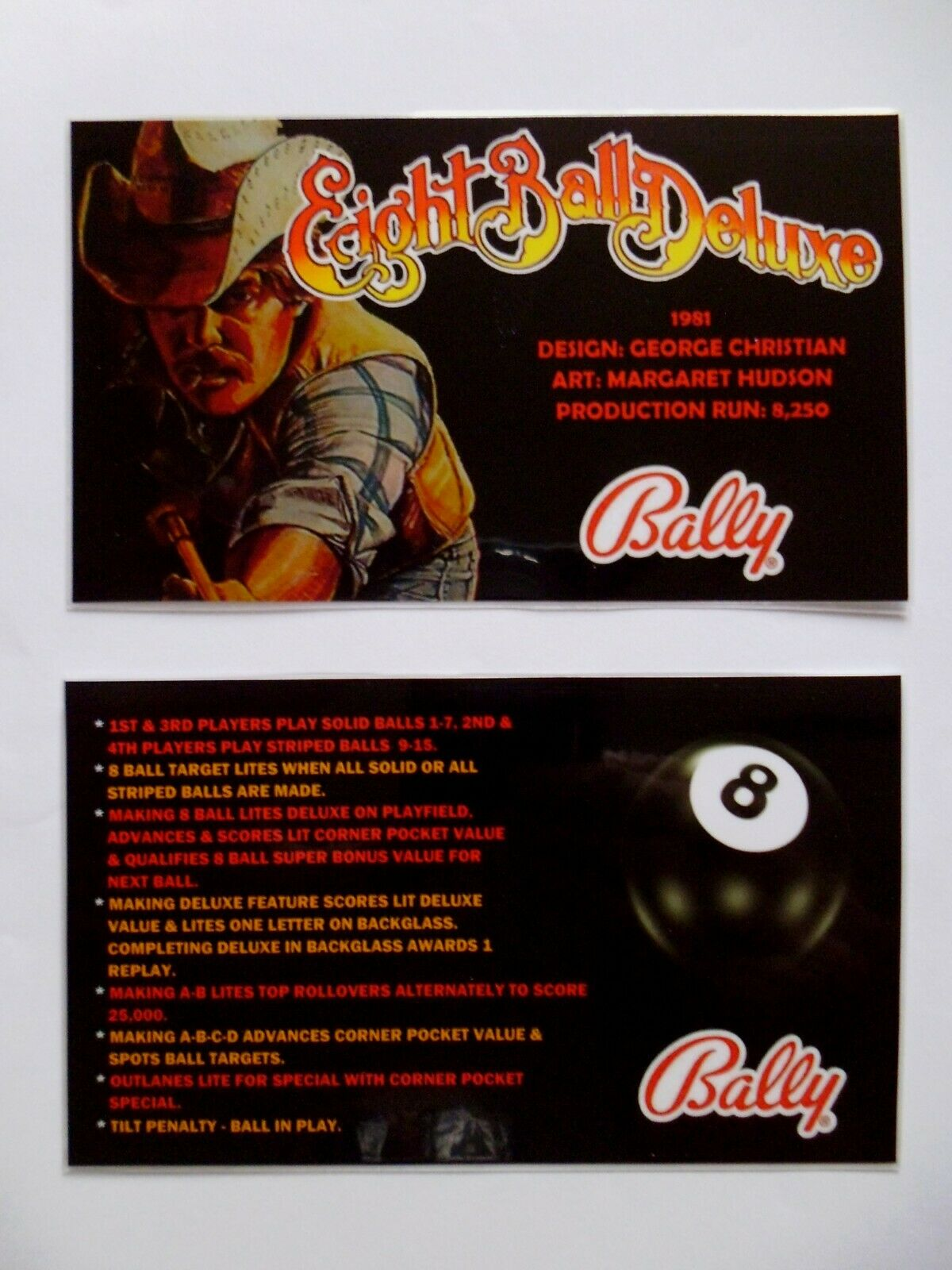 * 'EIGHT BALL DELUXE' Bally 1981 Custom Instruction/Apron Cards * (New)
