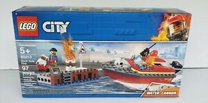 LEGO-City-Dock-Side-Fire-60213-Building-Kit-New-2019-97-Piece