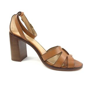 Banana Republic Brown Leather Heels Ankle Strap Chunky Stacked Heels US 10, UK 9