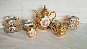 Gold-Set-Teapot-Tea-Cups-Saucers-6-Plate-Porcelain-Bavaria-Vtg-Creamer-Sugar