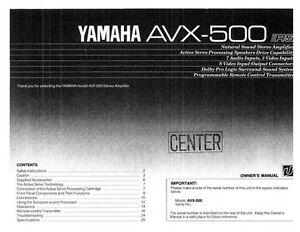 Yamaha avx 500 amplifier owners manual ebay image is loading yamaha avx 500 amplifier owners manual publicscrutiny Image collections