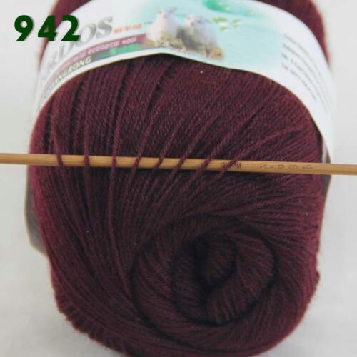 C 6Ballsx50g LACE Pure Color Crochet Acrylic Wool Cashmere Hand Knitting Yarn 42