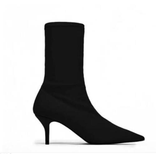 Womens Stretchy Pointy Toe Oxford Style Mid Calf Boots Stilettos High heel Shoes
