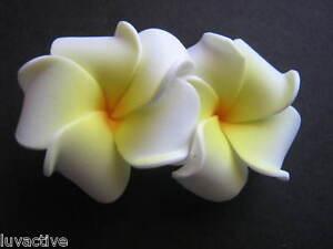 2 pc Mini Hawaiian Plumeria Flower Foam Hair Clip Wedding Bridal Luau WHITE NEW