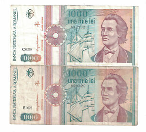 ROMANIA Lot of 2 notes x 1000 Lei 1991 Pick# 101Aa VG - VF. (#1409)