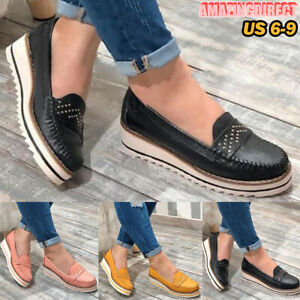 Womens Canvas Loafers Fashion Square Toe Print Shoes Casual Light Slip on Walking Shoes