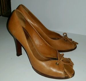 c52760637da Details about Ralph Lauren brown leather peep toe tasseled platform heels  pumps. 8