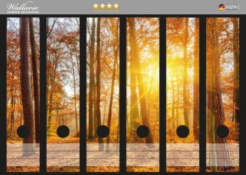 Sonnenuntergang Herbst Wallario Ordnerrücken selbstklebend für 6 breite Ordner