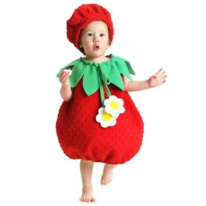 25a304e27461 Baby Strawberry Costume Infant Toddler Halloween Fancy Dress