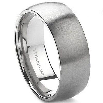 8MM Size 7-15 Solid Titanium Ring Brushed Men Wedding School Engagement Band
