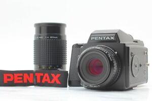 NEAR-MINT-Pentax-645-SMC-A-75mm-f-2-8-200mm-f-4-Objektiv-mit-Trageriemen-Japan-553