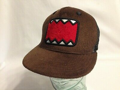 Domo Japanese Cartoon Red /& Brown Stripe Cuff Pom Pom Cap Hat Beanie