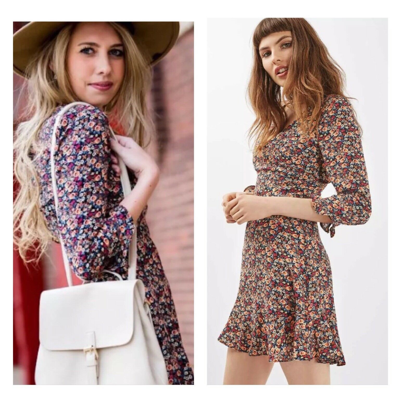Topshop iconica Peach POP Volant Increspatura floreale vintage celeb Estate Tea Dress 4 0 32 P