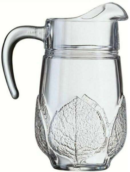 1.3L Fridge Glass Pitcher Water Jug Glass Carafe with Stainless Steel Lid 1L