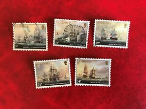 GUERNSEY-1986-USED-SG-360-4-ADMIRAL-LORD-DE-SAUMAREZ-PAINTINGS-ART-SHIPS
