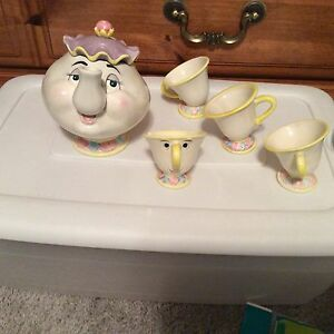 Vintage Disney Store Beauty And The Beast Toy China Tea Set Mrs