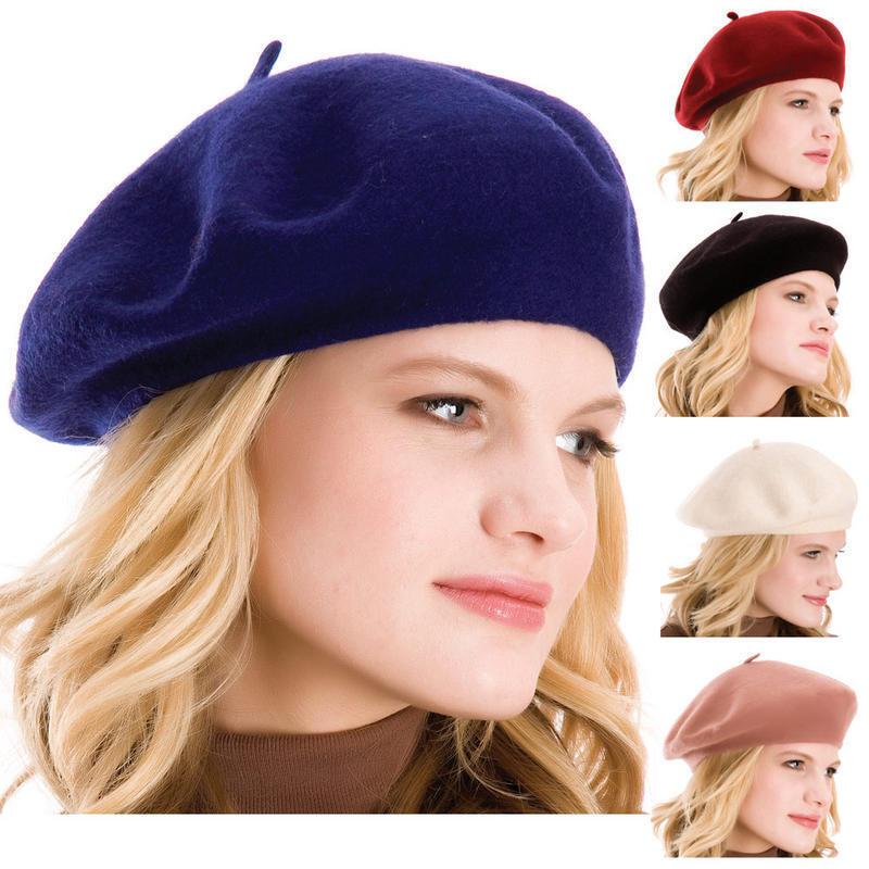 100% Premium Wool Artist Beret Hat Cap Casual Classic Solid Beanie French  Women 3eca720331d2