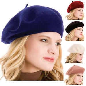 ca12e277334a5 Hot US Women Solid Wool Beret French Artist Warm Beanie Hat Winter ...