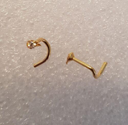 Nasenpiercing Tropfen Blatt mit Zirkonia 925 Silber vergoldet Spirale