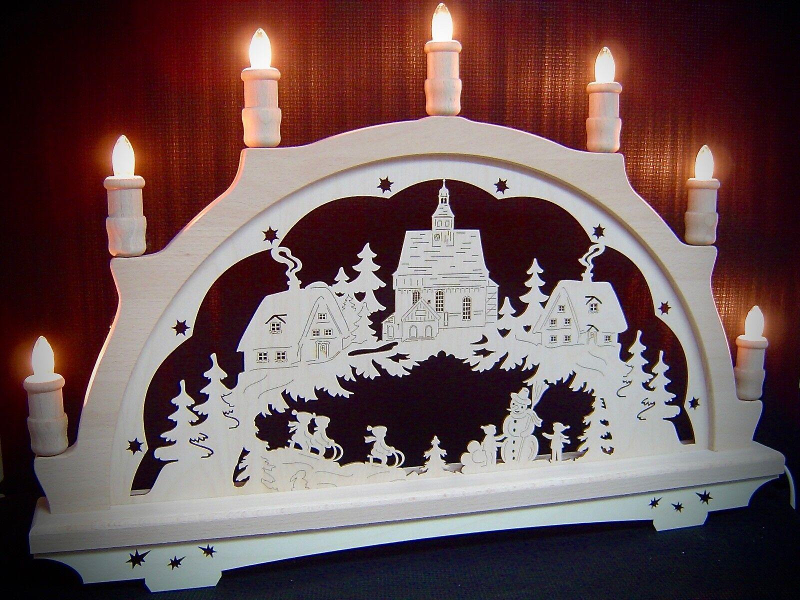 Original Erzgebirge Arco Arco de Luces Aldea de Invierno Iglesia 7 Velas 10266