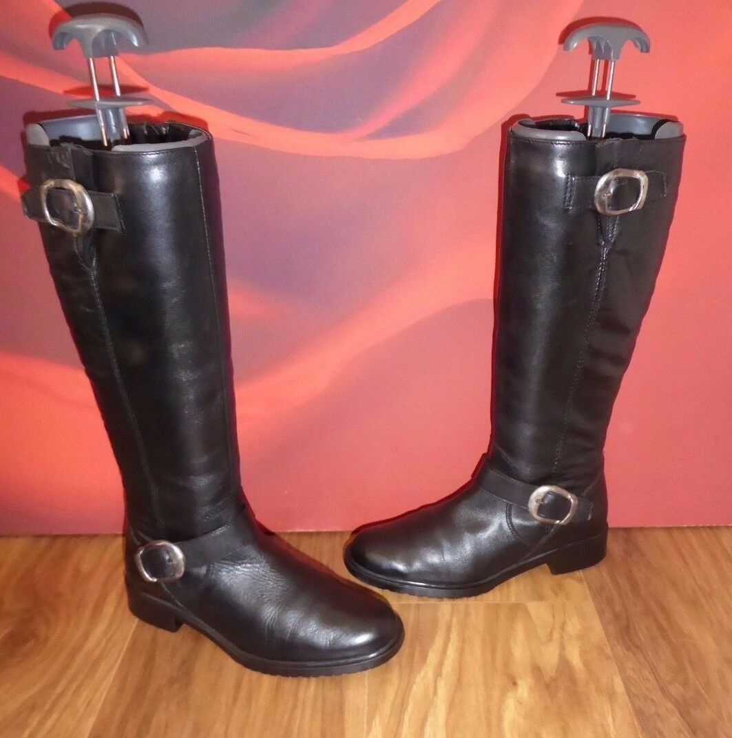19 SUPERB  tlc BLACK  LEATHER  RIDING STYLE  BOOTS EU 35 UK 3