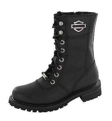 Harley Davidson Botas Zapatos-Matisa-Negro Cuero Botas Con Cordones 10