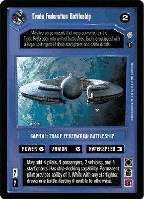 Star Wars CCG Coruscant SWCCG Trade Federation Battleship