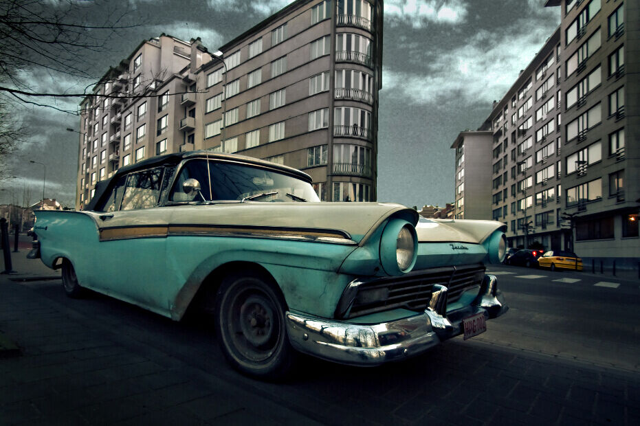 3D Street - view - autos  Fototapeten Wandbild Fototapete BildTapete Familie DE
