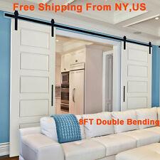 8FT Antique Double Sliding Barn Door Hardware Cabinet Roller Track Kit US Seller