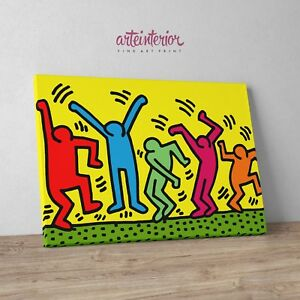Keith Haring The Dancers Stampa Fine Art Su Tela Canvas Idea