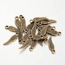 20 Antique Bronze Angel Wing Pendant Charms