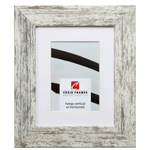 741605 12x12 Faux White Barnwood Picture Frame Matted to Display a 9x9 Photo