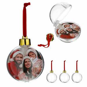 4-x-Fotokugel-Foto-Kugel-Kunststoffkugel-Fotohalter-Weihnachtskugel-Deko-8-cm