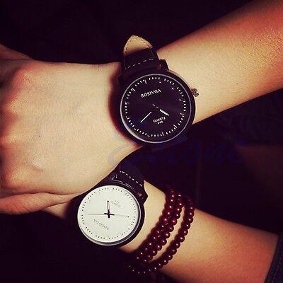 NEW Fashion Watch Round Steel Case Men women Leather Quartz analog wrist Watch