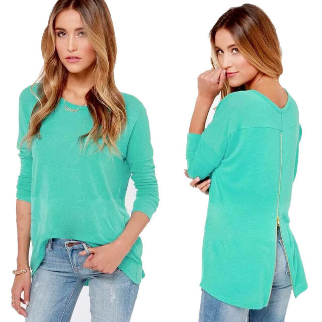 Fashion Women Loose Zipper Casual Long Sleeve Shirt Tops O-Neck Blouse Stylish