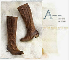 Winding Ruffle Boots ANTHROPOLOGIE Miss Albright Sz 7 Brown Brand New Never Worn