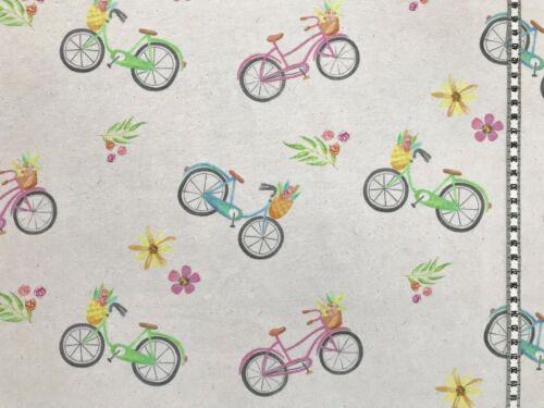 "Jersey /"" Watercolor Fahrräder /"" creme Kinderstoff Digitaldruck"