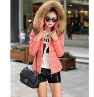 Hot Winter Women Short Slim Down Cotton Hooded Fur Collar coat Jacket Parka Z