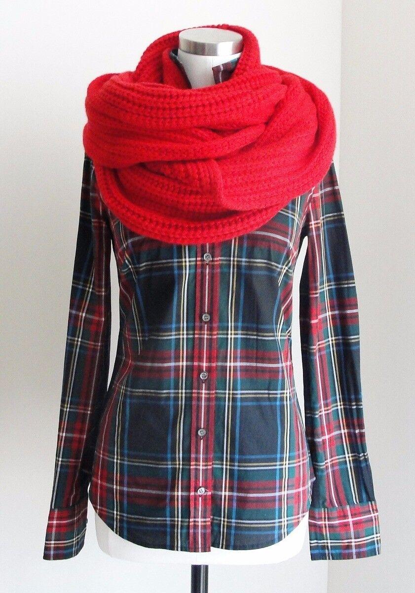 J.CREW Perfect Hemd in Stewart plaid 4 Klein NEW NWT Holiday rot Grün Kleid