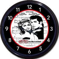 Grease John Travolta Olivia Newton-john Movie Sheet Music 80s Wall Clock 10