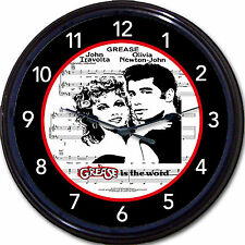 Grease John Travolta Olivia Newton-John Movie Sheet Music 80s Wall Clock New 10""
