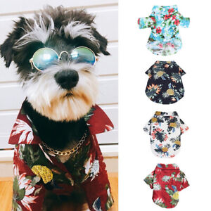 Pet-Dog-Hawaiian-Shirt-Beach-Clothes-Vest-Floral-Printed-Top-For-Small-Large-New