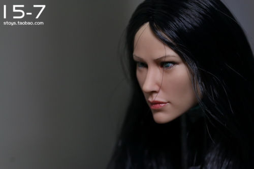 "1//6 KUMIK Female Head Sculpt Model Black Long Hair F 12/"" Action Figure Body Toy"