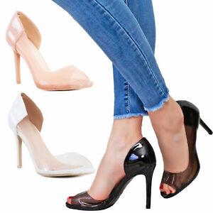 vendita outlet donna scarpe sportive Dettagli su Scarpe donna decollete trasparenti eleganti open toe decoltè  TOOCOOL P2L8670-3