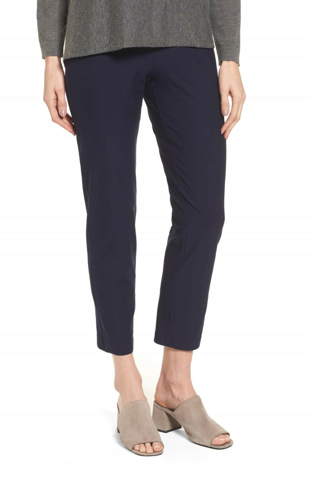 NWT EILEEN FISHER Crepe Knit Slim Ankle Pants in Midnight - Size L