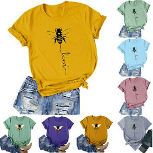 Womens-T-Shirt-Bee-Print-Blouse-Summer-Short-Sleeve-Loose-Ladies-Casual-Tee-Tops