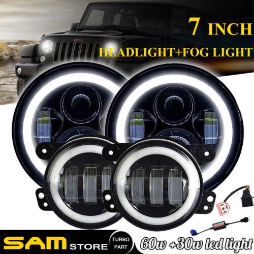DOT LED Halo Ring Headlight Fog Light Kit Combo for Wrangler JK 2007-2017